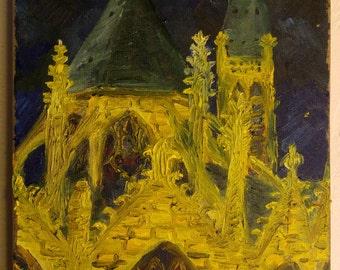 Oil painting Église Saint-Séverin, 33x24 cm