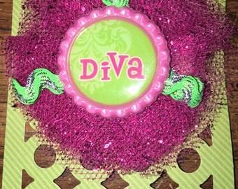 Hair Clip, Little Diva, Pink Glitter Tulle, Lime Green