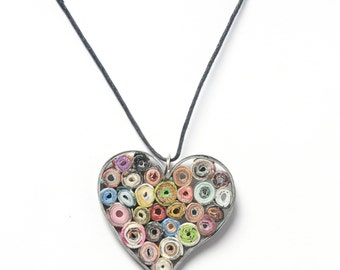 Paper anniversary heart necklace , Heart paper pendant, Eco friendly necklace , Recycled jewelry , 1st anniversary gift, Upcycled necklace