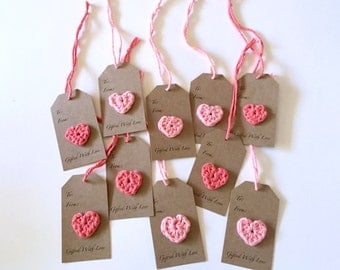 Crochet Heart Gift Tags, Gifted with Love, Handmade (Set of 10)