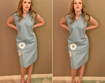 1960's Blue Daisy Dress