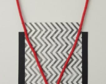 INGRID - minimal simplicity in red statement necklace with aluminum tubing and tassel