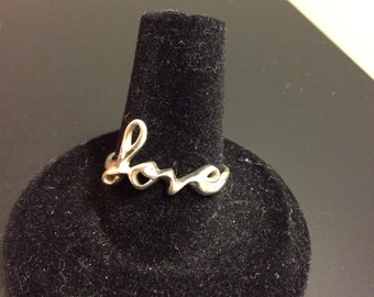 925 Sterling silver cursive love ring, ladies ring,