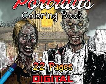 Zombie Portrait Coloring Book #1 - Digital Download