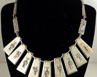Vintage Silver Tone Ecuador Tribal Bib Necklace