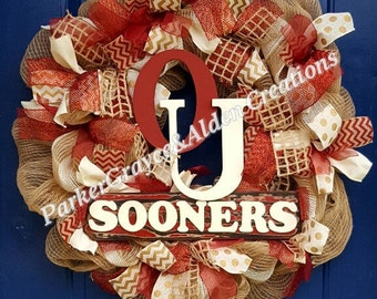 OU Wreath, OU Deco Mesh Wreath, Ribbon Wreath, Football Wreath, Boomer Sooner Wreath, Oklahoma Wreath, Sooners Wreath, Fall Wreath, College,