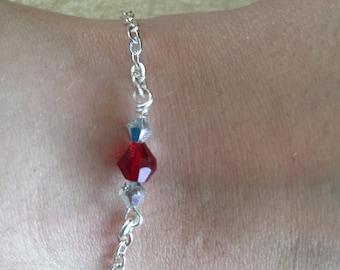 Swarovski and silver chain bracelet