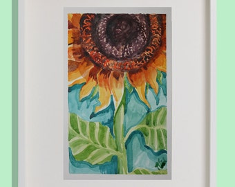 A Lone Sunflower, Original Watercolor Painting, Floral