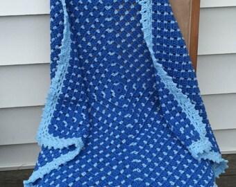 Baby Blanket, Crochet, Blue