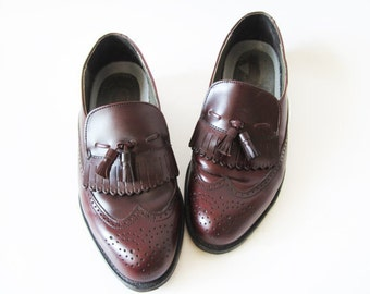 Wingtip Oxford Shoes Men Vine Red Shoes Brown Leather Shoes Perforated Tassels Brogues Loafers Made in USA DEXTER Shoes Size US 8 1/2