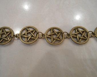 brass pentacle bracelet, men's bracelet,women's bracelet,fathers day,Wicca,Wiccan,pagan