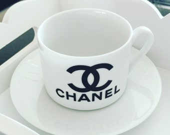Chanel Inspired Teacup & Saucer