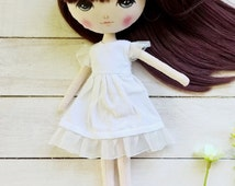 Doll clothes for MeoMun doll, dress up doll, white dress, doll's dress
