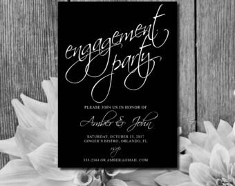 Engagement Invitation | Wedding Engagement Invite | Engagement Party Invitation | Black and White Invite | Engagement Announcement