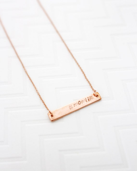 Momlife Necklace, Rose Gold Bar Necklace, Dainty Bar Necklace, Perfect Bar Necklace, Hashtag Necklace, Mom gift from Daughter, Gift for Wife