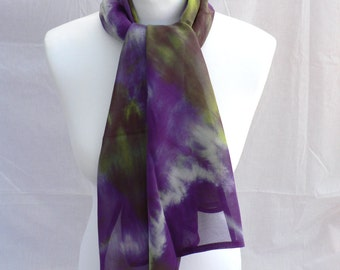 Handmade and Hand dyed Pure Silk Georgette Scarf - 'Iris in Bloom'