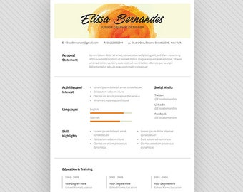 "Resume Template / CV Template + Cover Letter for MS Word and Photoshop | Instant Digital Download - ""Sunset"""
