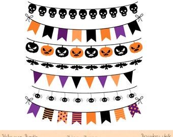 Halloween banner clip art clipart, Digital banner flag garland bunting image graphic orange, Halloween bunting clipart clip art, Black Skull