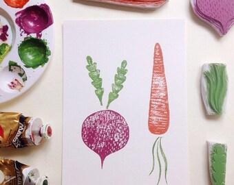 Winter Vegetables - Original Block Print