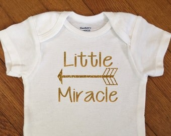 SALE! Glitter Little Miracle Arrow Shirt, Just Born Baby Outfit, Sparkly Bodysuit, Infant Onesie®, Baby Shower, Newborn, Going Home