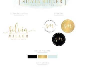 Branding Kit, Branding Package, Premade Logo, Watercolor Logo, Logo Design, Gold Logo, Mint Logo,Calligpaphy, Photography Logo, Wedding Logo