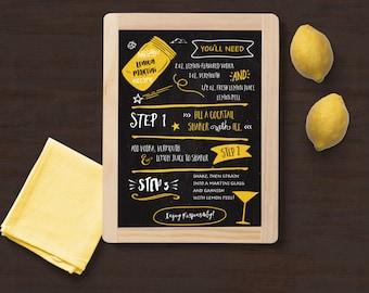 Lemon Martini Recipe Card, Printable Kitchen Decor