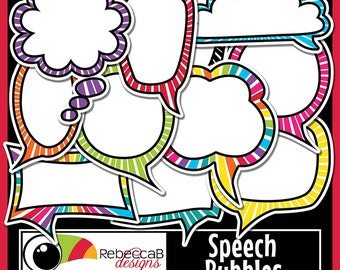 Speech Bubble Clip Art, Speech Bubbles, Digital Speech Bubbles, Printables