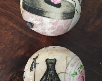 Paris shabby chic boutique 2 inch decoupaged dresser drawer cabinet knobs pulls