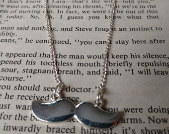 Silver moustache necklace, funky