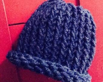 Navy Knitted Newborn Hat