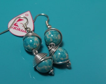 Blue and white stones and aluminum earrings