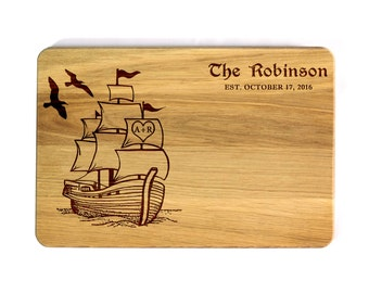 Personalized Cutting Board Family Ship love boat Wedding gift Wedding Gift for couple unique wedding gift Bridal Shower Gift custom wedding