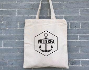 Nautical Wild Sea Bag, Summer Gift Bag,  Eco friendly Bag, Eco Tote, Canvas Tote Bag, Organic Tote Bag, Beach Bag