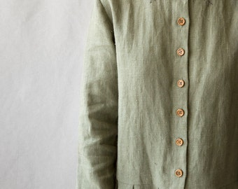 Linen Dress Hand embroidery loose fit oversize. linen womens clothing buttons green grey warm spring autumn