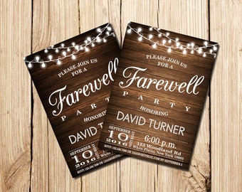 Farewell Party Invitation, Farewell Invitation, Rustic Farewell Party Invitation, Rustic Farewell Invitation, Farewell, Printable, Vintage