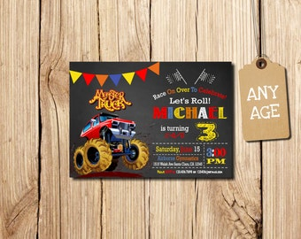 MONSTER TRUCK INVITATION, Monster Truck Party, Monster Truck Birthday, Monster Truck Invitation, Monster Truck, 3rd birthday invitation