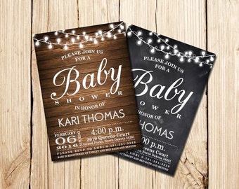 Rustic Baby Shower Invitation, wood,  Rustic Baby Shower, Rustic Baby Shower Invitations, Rustic Baby Shower Invite, Rustic