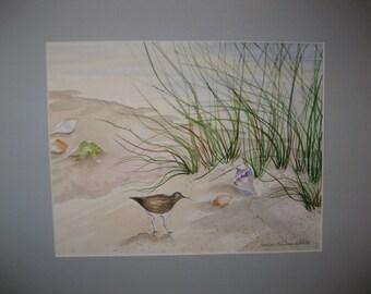 16x20 Watercolor Seashore, Original, matted, included, optional