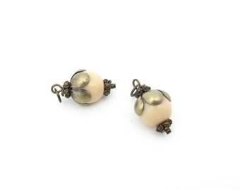 2pc Czech Pressed Glass Bead Charm Pendant Beige-Necklace Earring Drop-Flower Cap