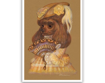 Poodle Art Print - Lady in Yellow - Dog Lover Gifts, Dog Posters - Brown Poodle - Dog Portraits by Maria Pishvanova