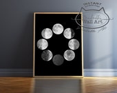 Moon Phases Print DIGITAL DOWNLOAD Print Moon Phase Wall Art Digital Download Poster Black And White Wall Art Moon Phase Poster Art Print