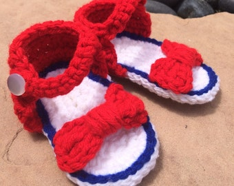 4th of July Crochet Baby Sandals, Baby FlipFlops, Baby Girl Sandals, Summer Baby Shoes, Baby Beach Shoes, Customizable Sandals, 4th of July