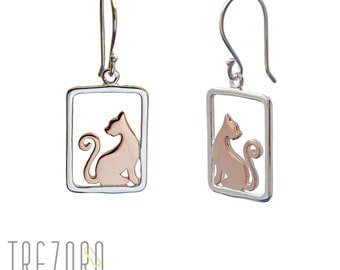 Cats Earrings | 925 Sterling Silver | Gold Plated | Free gift box