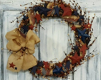 "18"" Primitive Country Americana Wreath"