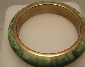 Vintage Green and Brass Bangle