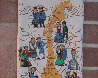 Beach Shopping Tote Bag - Vintage Tea Towel Norway