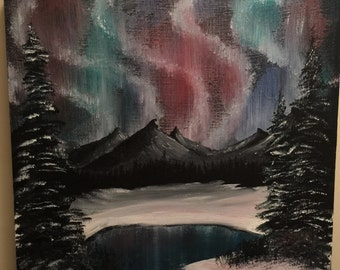 Northern Lights Landscape Painting