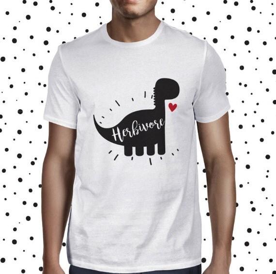 Herbivore Dinosaur Shirt - Vegan Man Tshirt - Funny Vegan Tee - Mens Vegan Clothing - Healthy Pun Shirt - Vegetarian - Plant-based T-shirt