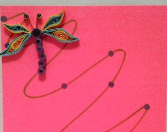 Pink Quilled Card,Hand Made Card,Hand Crafted  Cards,Quilling ,Summer Cards,Any Ocassion Cards