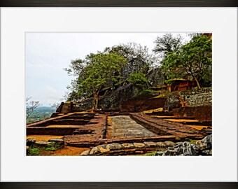 ruins print Sri Lankan nature photo, Sri Lanka Sigiriya rock mountain photography, Asia, fine art, wall art, home decor HDR natural landmark